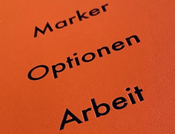 Marker, Optionen, Arbeit